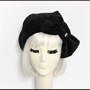 Black Velvet Beret Hat with bow